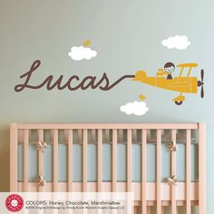Airplane Nursery Wall Art Decal Boy Skywriter by graphicspaces.   would be cute to just swipe name on with white paint