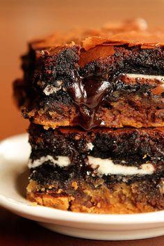 chocolate chip cookie + oreo fudge brownie bars