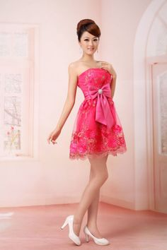 Shiny Sweet Strapless Lacework Floral Short Bridesmaid Dress Prom Evening Dress   eBay