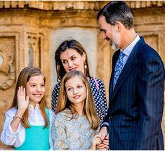 Easter 2018 King Felipe and Queen Letizia of Spain with Princesses Leonor and Sofia