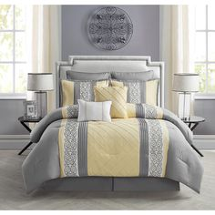 Create a luxurious bed with the Farion 8 Piece Comforter Set by VCNY . Yellow Comforter, Queen Comforter Sets, Bedding Sets, Gray Bedding, Bed Sets, Bedroom Colors, Bedroom Decor, Bed In A Bag, Master Bedrooms