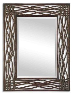 Uttermost Dorigrass Distressed Mocha Rustic Metal Framed Mirror - Overstock Shopping - Great Deals on Uttermost Mirrors Uttermost Mirrors, Uttermost Lighting, Entryway Console Table, Brown Home Decor, Metal Mirror, Mirror Mirror, Bathroom Ideas, Bathroom Mirrors, Mirror Ideas