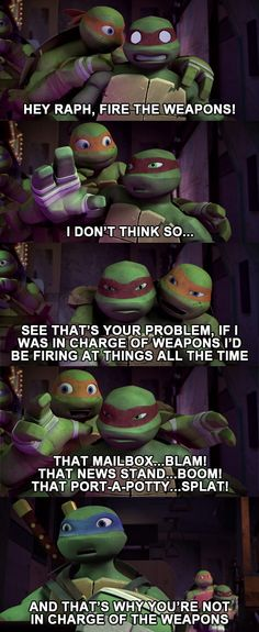 That's Why You're Not in Charge of Weapons #tmnt #mikey #raph #leo