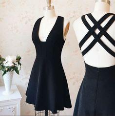 Black V Neck Homecoming Dress,Cross Back Short Prom Dress,Sleeveless Formal Dress,A Line Homecoming Dresses,skater dresses