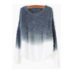 SheIn(sheinside) Grey Ombre Round Neck Mohair Sweater (140 HRK) ❤ liked on Polyvore featuring tops, sweaters, grey, gray sweater, round neck sweater, mohair sweater, color block sweater and sweater pullover