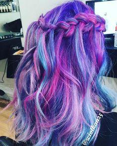 hair highlights purple Idea - All For Hair Color Balayage Bright Hair Colors, Hair Dye Colors, Hair Colour, Bright Coloured Hair, Colorful Hair, Pretty Hair Color, Dye My Hair, Purple Hair, Turquoise Hair
