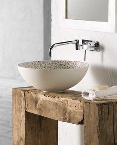 Sicilia, lavabo crudo sobre encimera de la colección Vintage  Medidas: 400x400x150