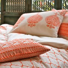 Block-printed cotton duvet with two matching shams.   Product: Duvet cover and two pillow shamsConstruction Material:...