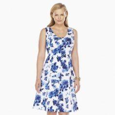 Chaps Paisley Watercolor Sateen Dress - Women's Plus - Possible Bridesmaid Dress