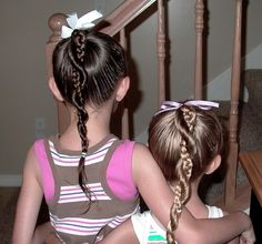 Little Girl Hairstyles For School Pictures Ideas Ooh! Cute Ponytail Hairstyles, Cute Ponytails, Braided Ponytail, Little Girl Hairstyles, Hairstyles For School, Pretty Hairstyles, Braided Hairstyles, Children Hairstyles, Hairstyle Ideas