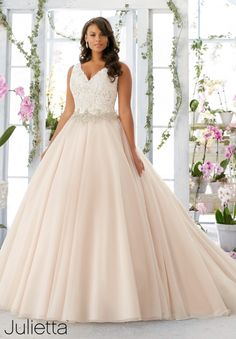 Plus Size Wedding Dress 3198 Embroidered Lace Bodice Edged with Beading onto the Tulle Ball Gown morilee brides