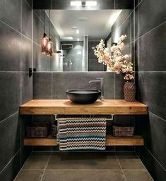 Terrific Photographs wooden Bathroom Vanity Suggestions Deciding on the best bathroom vanity for the area could be challenging together with the possibiliti Grey Bathroom Tiles, Wooden Bathroom, Grey Bathrooms, Bathroom Colors, Beautiful Bathrooms, Bathroom Flooring, Grey Tiles, Bathroom Ideas, Wood Tiles