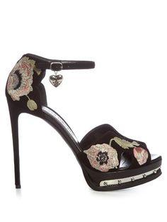 e517f3438dd ALEXANDER MCQUEEN Poppy-Embroidered Suede Sandals.  alexandermcqueen  shoes   sandals
