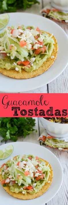 Guacamole Tostadas - delicious meatless meal! Tostadas topped with guacamole, queso fresco, and fresh salsa!  recipe dinner salad healthy chicken appetizer dinner recipes avocado tortillas tomatoes