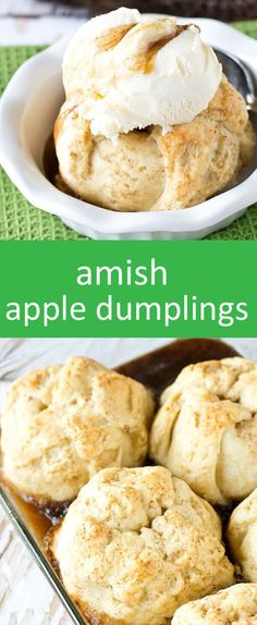 Apples wrapped in a buttery, homemade dough and baked in… Amish Apple Dumplings. Apples wrapped in a buttery, homemade dough and baked in… Best Apple Recipes, Apple Dessert Recipes, Köstliche Desserts, Fruit Recipes, Fall Recipes, Delicious Desserts, Favorite Recipes, Yummy Food, Pie Recipes