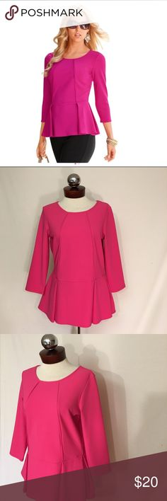 BOSTON PROPER travel peplum top hot pink Excellent condition! Bust 37 length 25.5.  Color is slightly brighter than photo suggest. Style 20391  Travel top in this season's hottest silhouette in our favorite go-to fabric. • Nylon/spandex. • Imported. • Machine wash. • Sensuously shaped. • XXS(0), XS(2-4), S(6-8), M(10-12), L(14-16), XL(18). Boston Proper Tops Blouses