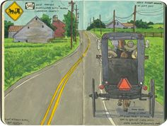 Amish buggy sketch by Chandler O'Leary