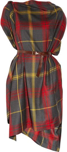 Vivienne Westwood Anglomania Rectangle Tartan Wool Dress in Red