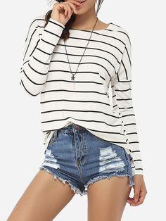 #AdoreWe #FashionMia Long sleeve T-shirts - FashionMia Round Neck Cotton Striped Long-sleeve-t-shirt - AdoreWe.com