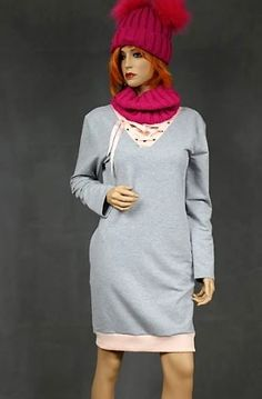 Gray-Pink Dress and V-neckline decorated ribbon