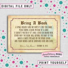 """Baby Shower Bring A Book Card """"Vintage Storybook"""" (Printable FIle Only) Fairytale Fairy Tale Storybook Castle Elegant Fun Faux-Gold Metallic"""