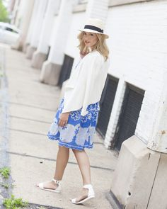 effortless and elegant [CLICK FOR OUTFIT DEATAILS] sundress // anthropologie // white blazer // hat // summer hat // straw hat // blue and white // the perfect dress // lace dress
