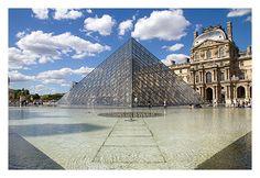 Glass pyramide of Louvre, Paris, France...
