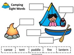 Camping Sight Words Worksheet by Wee Citizens Learning Sports Theme Classroom, Sight Word Worksheets, Camping Theme, Cut And Paste, Sight Words, One Color, Teacher Pay Teachers, Teaching, Education