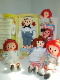 Vintage Raggedy Ann and Andy Doll Lot of Six by suburbantreasure, $45.00
