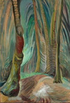 Emily Carr December 1871 - March 1945 was a Canadian artist and writer heavily inspired by the indigenous peoples of the Pacific Northwest Coast. Tom Thomson, Canadian Painters, Canadian Artists, Emily Carr Paintings, Group Of Seven Paintings, Impressionist Paintings, Landscape Paintings, Landscapes, Post Impressionism