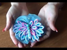 Канзаши МК. Как сделать бабочку канзаши. DIY Kanzashi butterfly