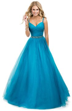 Flirt Prom 2014 dress style P4832 Tulle ball gown with jeweled straps. The…