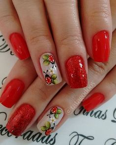 Having short nails is extremely practical. The problem is so many nail art and manicure designs that you'll find online Ombre Nail Designs, Nail Art Designs, Cute Nails, Pretty Nails, Ladybug Nails, Nagellack Design, Beautiful Nail Designs, Flower Nails, Easy Nail Art