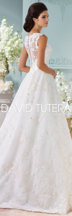 The David Tutera for Mon Cheri Spring 2016 Wedding Gown Collection - Style No. 116218 Kyra #laceweddingdresses