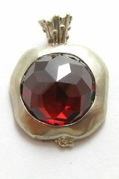 Silver Garnet Pomegranate Pendant Necklace