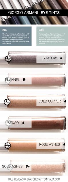Giorgio Armani Eye Tint ($38.00 for 0.22 fl. oz.) is a new, liquid eyeshadow formula that comes in twelve shades from black to beige and many shades in-bet