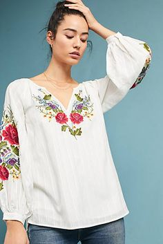 Mira Embroidered Peasant Blouse