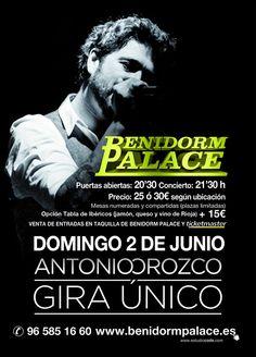 Este domingo 2 de junio tendremos de concierto a Antonio Orozco en Benidorm! Movie Posters, Movies, Ticket Display, June, Concert, Live, Domingo, 2016 Movies, Film Poster