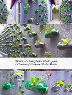 Urban Vertical Garden Built From Hundreds of Recycled Soda Bottles