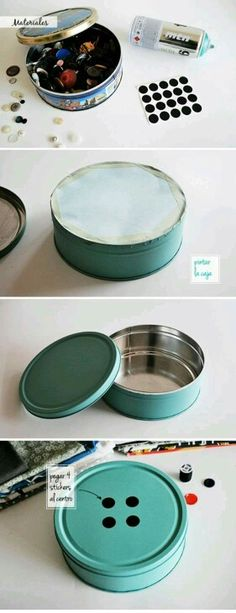 Turn old cookie or fruitcake tin into a real button tin...