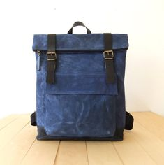 Waxed Canvas Backpack in Blue  Adjustable Cotton by metaphore