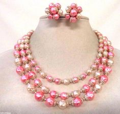 STUNNING VINTAGE SIGNED JAPAN PINK FAUX PEARL BEAD NECKLACE EARRINGS SET!! 3240H
