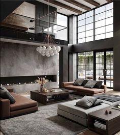 Modern Home Interior Design, Modern Kitchen Interiors, Dream Home Design, Luxury Home Decor, House Design, Manly Living Room, Home Design Living Room, Home And Living, Living Room Decor