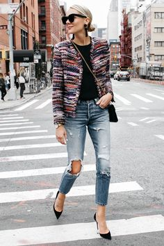 IRO Multicolored Tweed Jacket Denim Ripped Skinny Jeans Gucci Marmont Handbag Christian Louboutin Black Pumps Fashion Jackson Dallas Blogger Fashion Blogger Street Style NYFW