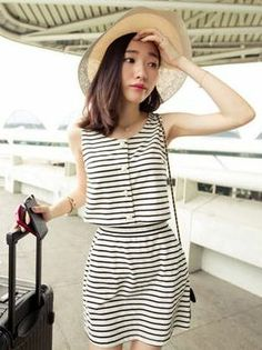 fb19285f8bb Korean Striped Blouse Short Skirt Two-piece Set