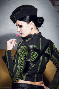 Nice use of green Dolly Fashion, Punk Fashion, Fashion Dolls, Fasion, Military Women, Military Fashion, Funky Outfits, Cute Outfits, Industrial Goth