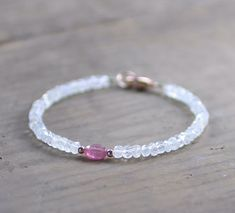 Moonstone & Pink Sapphire Bracelet in Sterling Silver Yellow