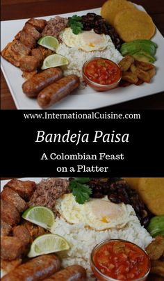 Bandeja Paisa is the national dish of Colombia. It has many components to it and is truly a feast on a platter. Be hungry my friend. Colombian Cuisine, Colombian Desserts, Columbia Food, Columbian Recipes, Fried Pork Belly, Mexican Dinner Recipes, National Dish, Comida Latina, Island Food