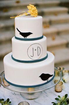 Modern-Bird-Theme-Cake  http://www.elizabethannedesigns.com/blog/2012/01/02/elegant-yellow-gray-wedding/