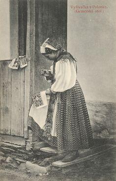 Pavol Socháň: Vyšívačka v Polomke Slovakia Ethnic Outfits, Ethnic Clothes, Goodbye Gifts, Folk Embroidery, Folklore, Old Photos, Westerns, Retro, Painting